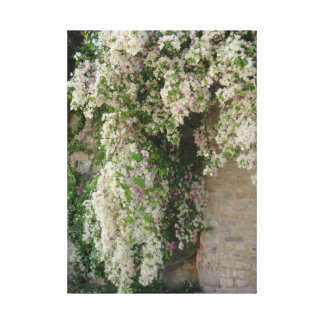 Blooming flowers covered hanging tree branches canvas print