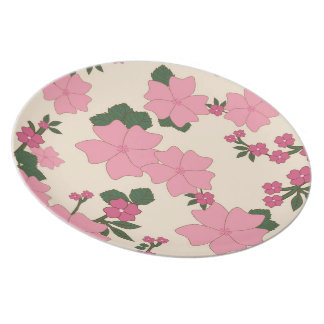 Blooming Flowers Petals Leaves - Pink Green Party Plates
