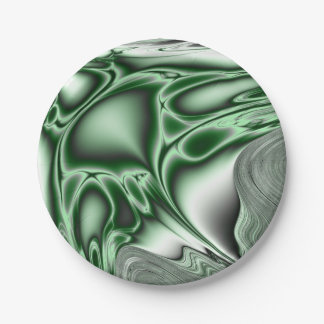 Blooming Green Fractal 7 Inch Paper Plate