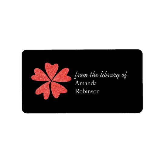 Blooming hearts personalised bookplate - black label