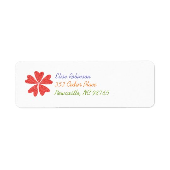 Blooming hearts return address label