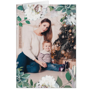 Blooming Joy Floral Christmas Photo Card Blue