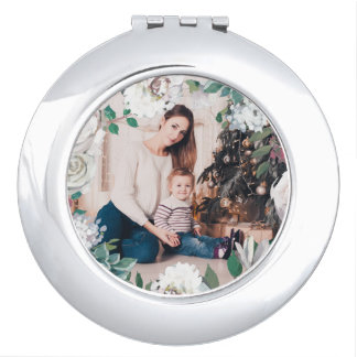 Blooming Joy Floral Christmas Photo Compact Mirror