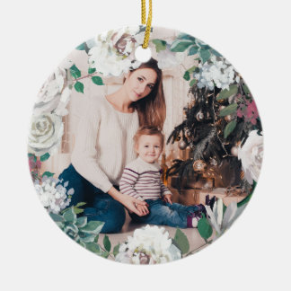 Blooming Joy Floral Christmas Photo Ornament