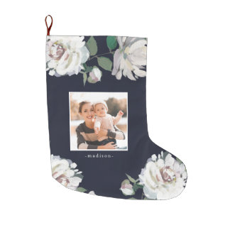 Blooming Joy Floral Photo Christmas Stocking Blue