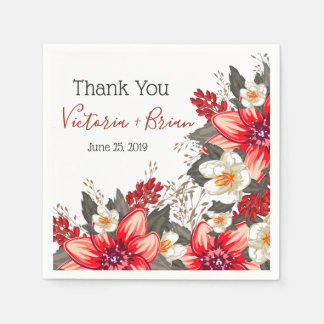 Blooming Joy- Rustic Bold Floral Personalized Paper Serviettes
