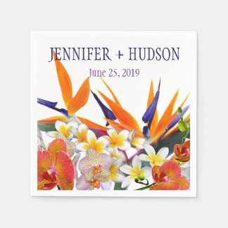 Blooming Joy-Tropical Flowers Personalized Disposable Napkins