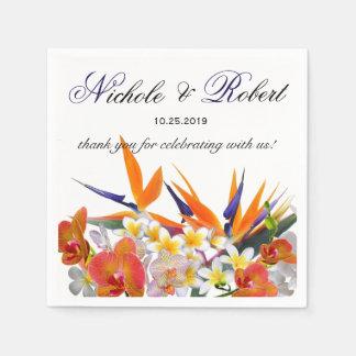 Blooming Joy-Tropical Flowers Wedding Custom Disposable Serviettes