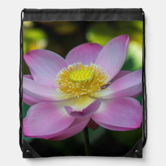 Blooming lotus flower, Indonesia Drawstring Bag