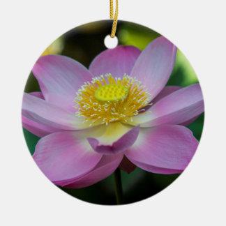 Blooming lotus flower, Indonesia Round Ceramic Decoration