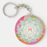 Blooming  Lotus Flower Monogrammed Keychain