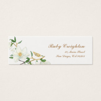 Blooming Magnolia watercolor Mini Business Card
