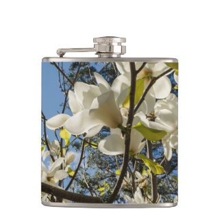 Blooming magnolias hip flask
