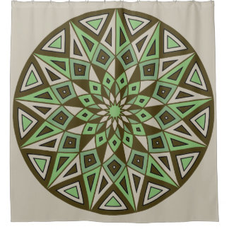 Blooming Mandala: Geometric Circle Shower Curtain