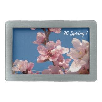 Blooming peach tree pink blooms in springtime rectangular belt buckle