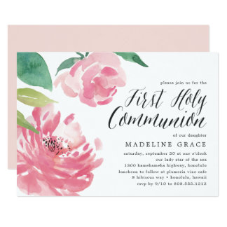 Blooming Peony | First Holy Communion Invitation