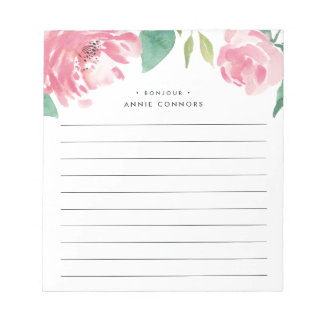 Blooming Peony | Personalized Lined Notepad