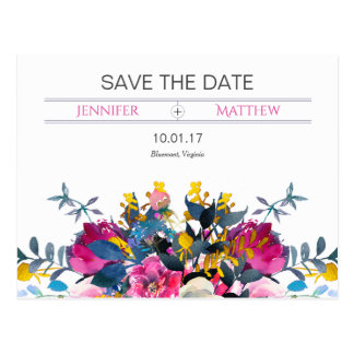 Blooming Petals Save The Date Postcard
