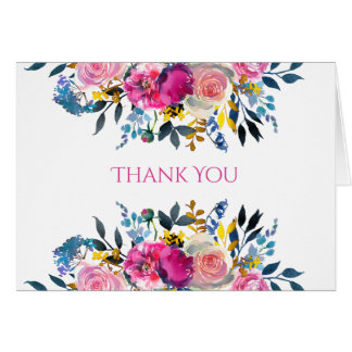 Blooming Petals Watercolor Floral Thank You Cards