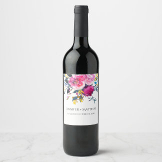 Blooming Petals Watercolor Florals Wine Label