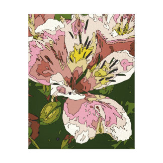 Blooming Pink Lily Flower Painting Gallery Wrapped Canvas