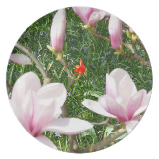 Blooming Pink Magnolia 01 Plate