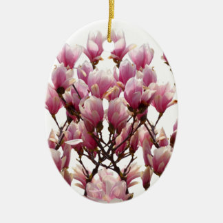 Blooming Pink Magnolias Spring Flower Ceramic Ornament