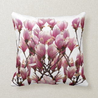 Blooming Pink Magnolias Spring Flower Cushion