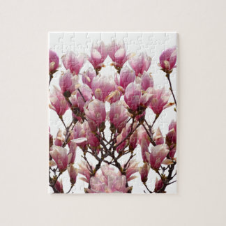 Blooming Pink Magnolias Spring Flower Jigsaw Puzzle