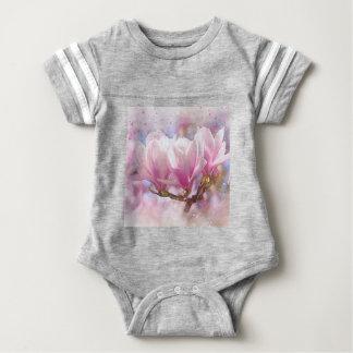 Blooming Pink Purple Magnolia - Spring Flower Baby Bodysuit