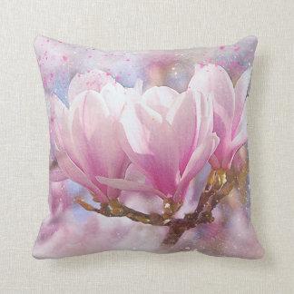 Blooming Pink Purple Magnolia - Spring Flower Cushion