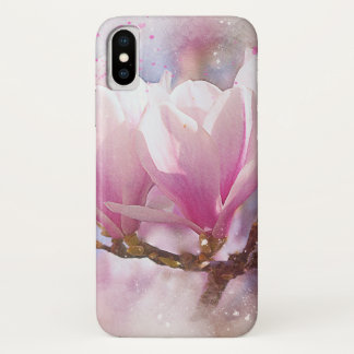 Blooming Pink Purple Magnolia - Spring Flower iPhone X Case
