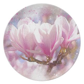 Blooming Pink Purple Magnolia - Spring Flower Plate