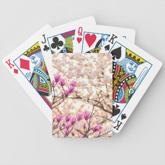 Blooming Pink Purple Magnolias Spring Flower Bicycle Playing Cards