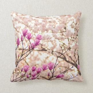 Blooming Pink Purple Magnolias Spring Flower Cushion