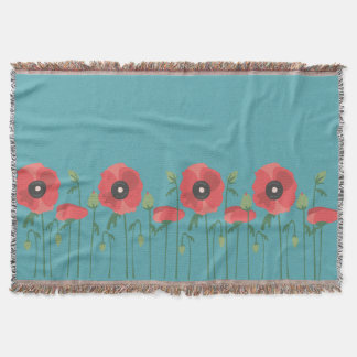 Blooming Poppy Field Throw