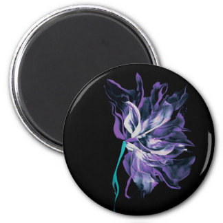 Blooming Purple Abstract Flower Magnet