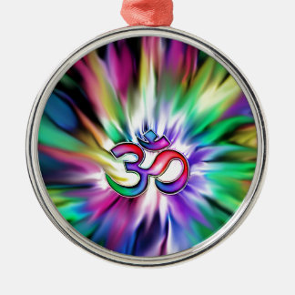 Blooming Rainbow Lotus OM Silver-Colored Round Decoration