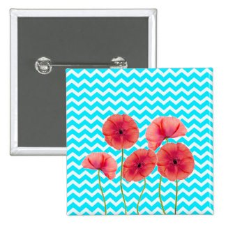 Blooming red poppies blue chevron pattern pin