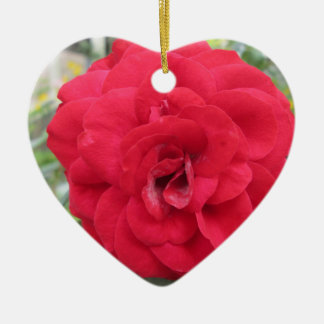 Blooming Red Rose Flower Christmas Ornament