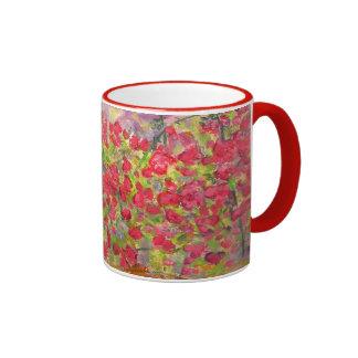 blooming red roses mugs