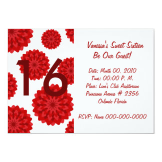 Blooming Red/White Sweet Sixteen-Customize 13 Cm X 18 Cm Invitation Card