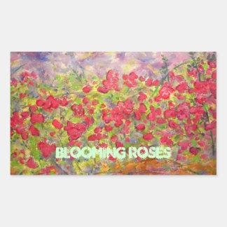 blooming roses art rectangular sticker