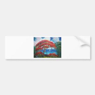 Blooming Royal Poinciana Tree and Sailboat Bumper Sticker