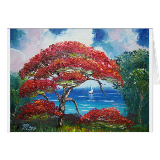 Blooming Royal Poinciana Tree and Sailboat Card