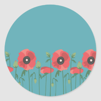 Blooming Springtime Poppies Classic Round Sticker