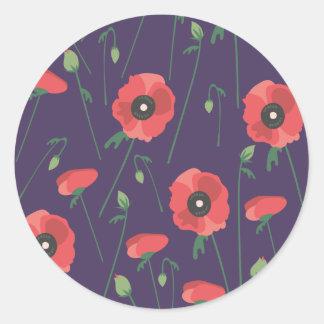 Blooming Springtime Poppies Purple Classic Round Sticker