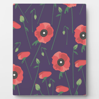 Blooming Springtime Poppies Purple Photo Plaques