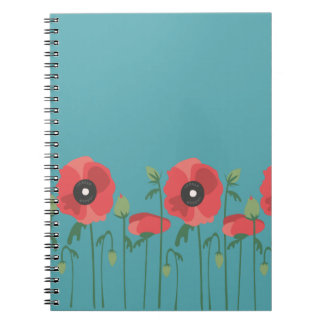 Blooming Springtime Poppies Spiral Notebook