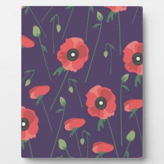 Blooming Springtime Poppy Purple Photo Plaque